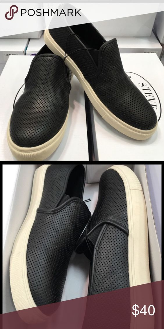 Brand new Steve Madden black slip on shoes Brand new, straight from the box. Steve Madden Shoes