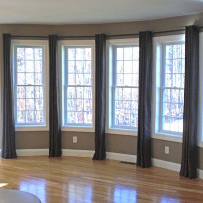 Curtain Ideas for Three-Window Wall Panels. I like this look ...