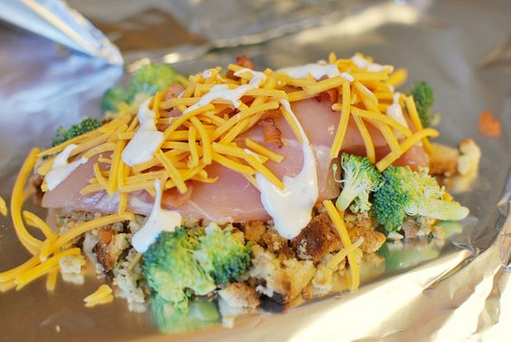 Cheesy Chicken Hobo Packs - everything is cooked in a foil packet! So easy!