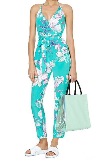 ROMWE | ROMWE Backless Floral Print Halter Jumpsuit, The Latest Street Fashion