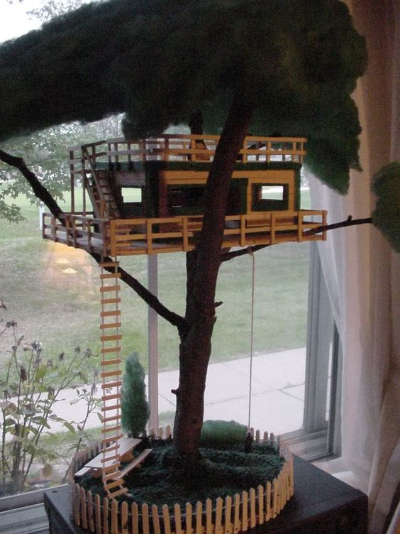 Popsicle stick tree house crafts pinterest popsicles for How to build a treehouse with sticks