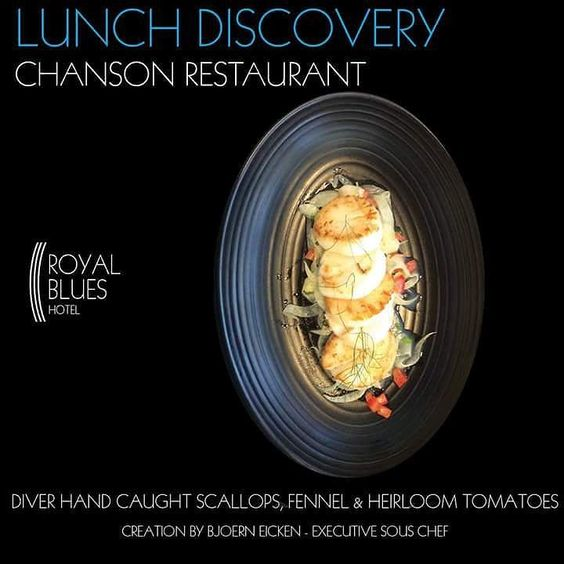 Our new lunch menu is now available at Royal Blues Hotel & Chanson Restaurant with a delectable selection of amazing dishes. All organic and with the freshest of ingredients. We have also added a few sandwiches and salads based on our guests requests and suggestions. Come and enjoy - the Diver Caught Sea Scallops entree is absolutely amazing.#royalblueshotel #RelaisChateaux #lunch #newlunchmenu #organic #organicfood #aamzing #amazingexperiences #delicious #boutiquehotel #pleasureofthesenses…