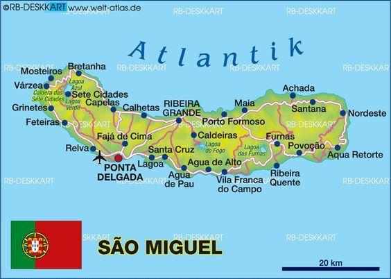Karte Von Sao Miguel Azoren Portugal Acores Sao Miguel
