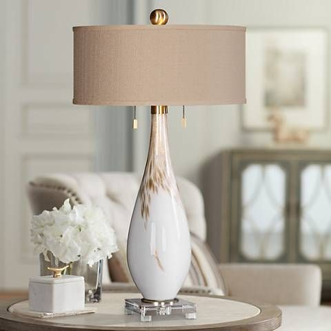 Uttermost Cardoni Gloss White Hand Blown Glass Table Lamp 9w435