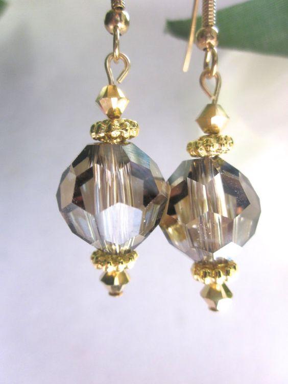 Ball Earrings Swarovski Earrings Bronze by FaithHopeInspire, $30.00