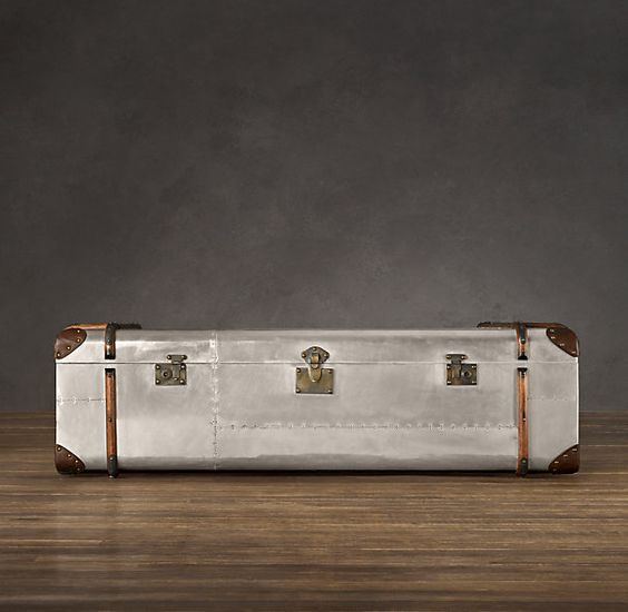 Restoration hardware richards 39 metal trunk coffee table la bellezza pinterest trunk Metal chest coffee table