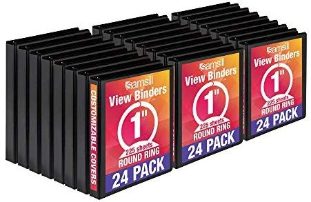Bulk Binders 12 Pack Customizable Clear View Cover Black 1 Inch Round Ring Samsill Economy 3 Ring View Binders