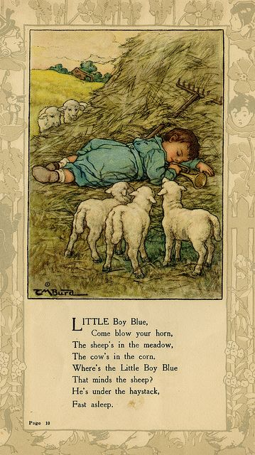 """""""Little Boy Blue..."""" illustration by Clara M. Burd for her book 'Mother Goose and Her Goslings', c. 1912-18. Courtesy The Texas Collection, Baylor University."""