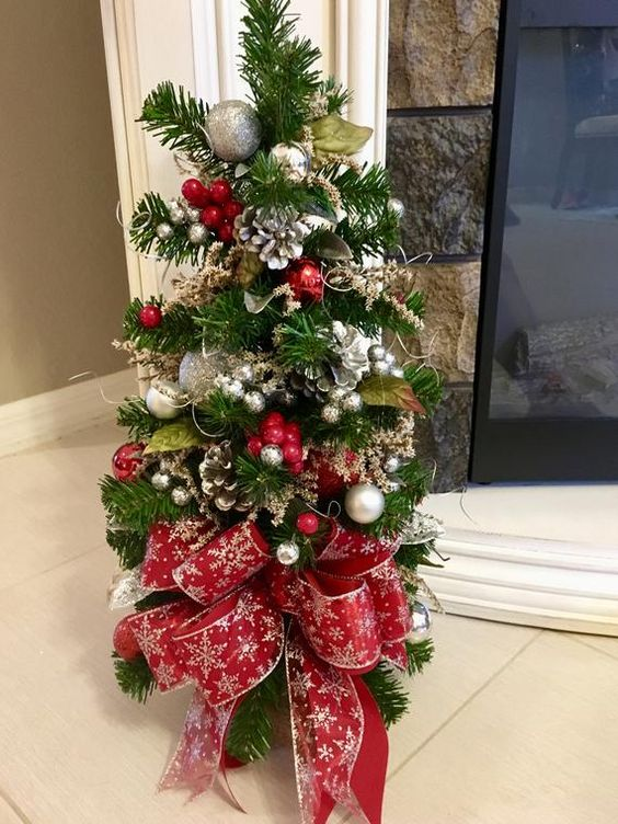 Christmas Topiary Tree. Red and Silver Snow Flake Ribbon with LED Cordless Light, 26x11 inch, Life