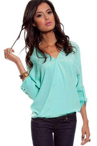 Sienna Pocket Top in Sea Green