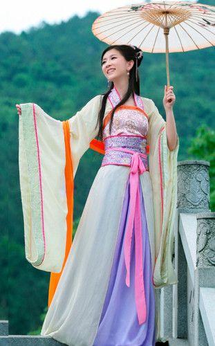 Tang Kimono Cream Floral Dress Cosplay CustomMade HanFu ...
