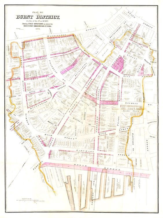 Plan To Reconstruct The Burnt District Of The Fire Of 1872