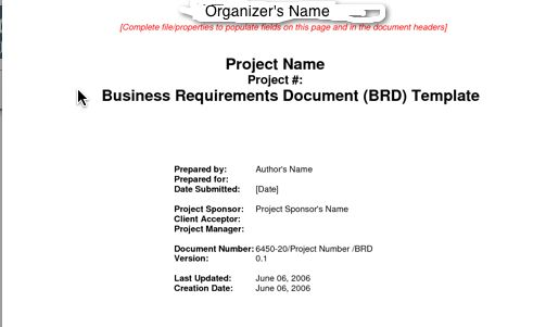Standard doc templates with comment\/Q resolution feedback loop and - business requirements document template