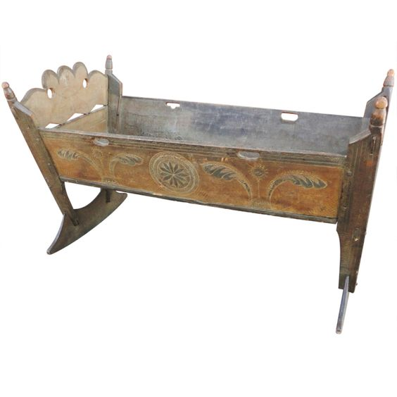 Important rare pennsylvania 18thc paint decorated cradle for Baby cradle function decoration