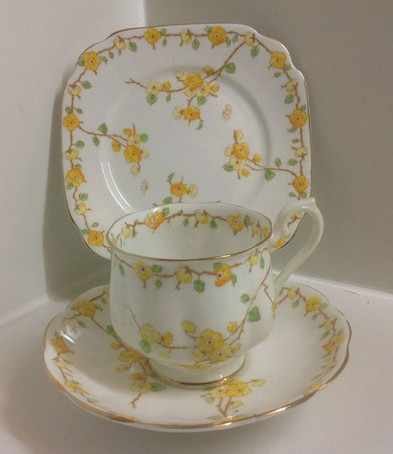 Royal Albert Crown China,Hand Painted English Bone China Art Deco Tea Set Trio