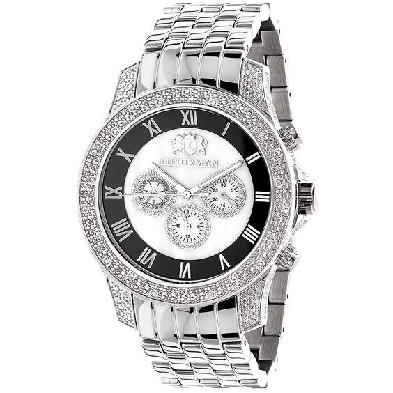 Luxurman Men's Midsize 1/2ct TDW Diamond Watch