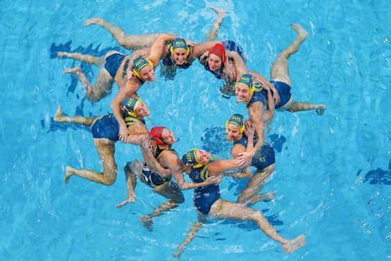 Members of the Australian Women's Rio 2016 Olympic Games Water Polo Team pose…