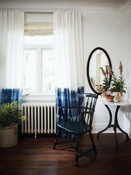 Dip dye - tye dye - curtains - DIY - Michael Penney design - modern country chic