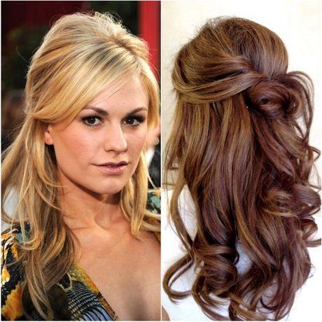Penteados semi presos com topete de cabelos longos