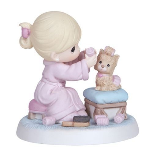 Precious Moments Love Is Patient Girl with Yorkie Dog in Curlers Puppy 134013