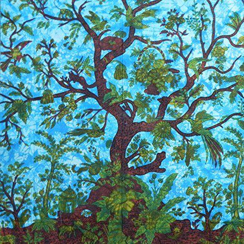Tagesdecke Lebensbaum türkis blau 240x200cm Vögel Blumen Design indische Decke Baumwolle Tie Dye Style indischerbasar.de http://www.amazon.de/dp/B00913A78W/ref=cm_sw_r_pi_dp_ppo-ub0FPRDW3