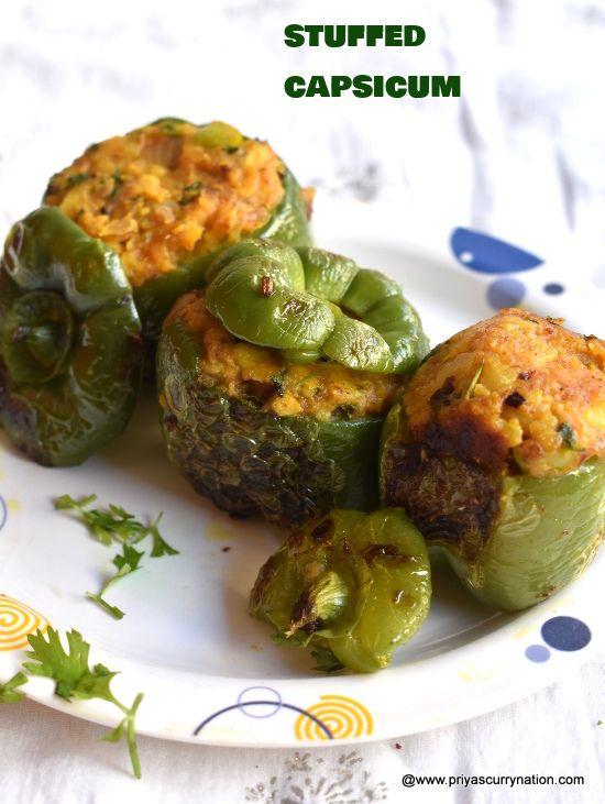 Stuffed Capsicum Recipe Bharwan Shimla Mirch Recipe Stuffed Bell Peppers Curry Nation Recipe Capsicum Recipes Recipes Stuffed Peppers