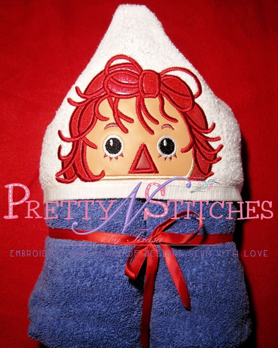 5X7  Gilr Rag doll Peeker Applique Embroidery Design inspired by Raggedy Ann by PrettyNStitches, $4.40 USD