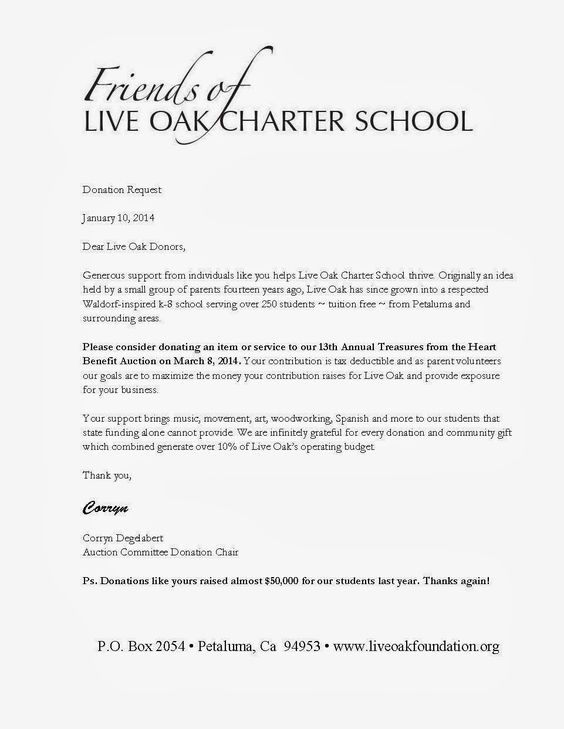 live oak leaflet auction donation request letter will also send