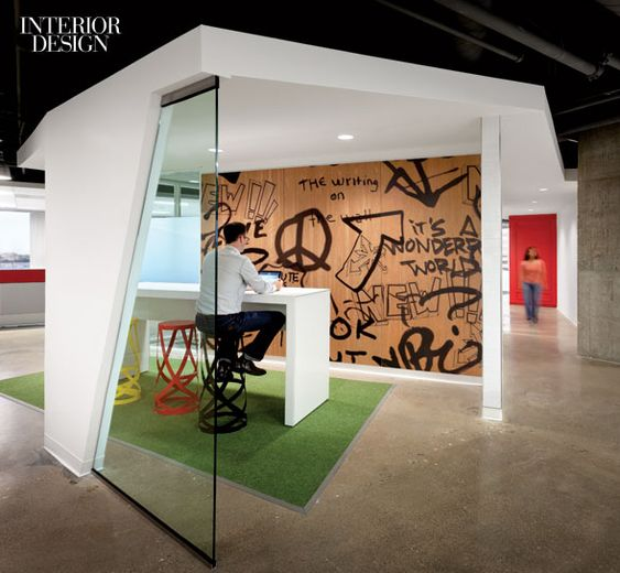 Modern Office Space Graffiti Wall Office Interiors