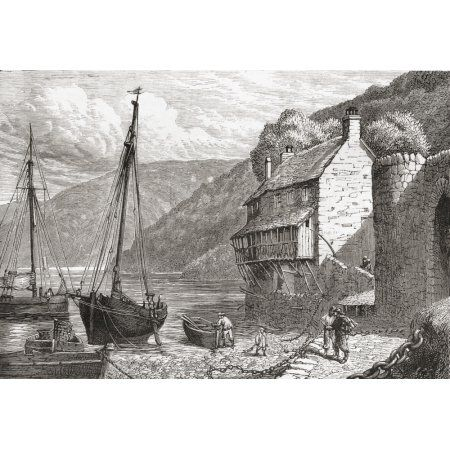 Clovelly Bay Devon England In The Late 19Th Century From Our Own Country Published 1898 Canvas Art - Ken Welsh Design Pics (17 x 12)