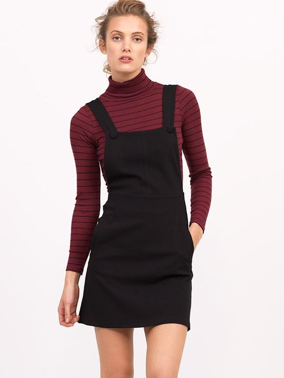 Black pinafore dress   maroon crop top  Things to Wear ...