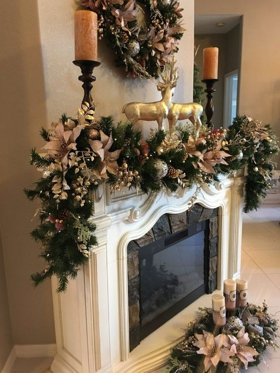 Hermosas Guirnaldas Navidenas Christmas Mantel Decorations Diy Christmas Fireplace Christmas Fireplace Decor