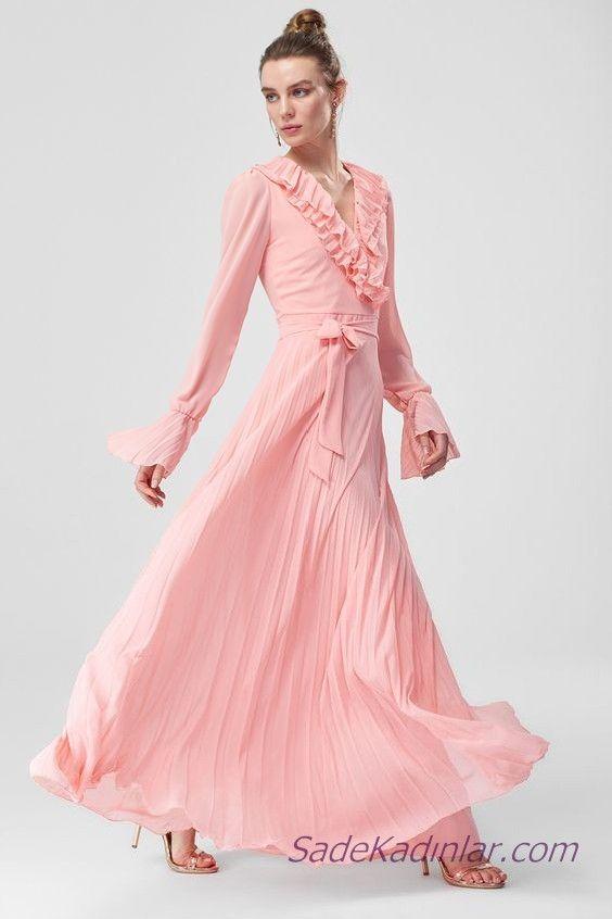 2019 Sifon Abiye Elbise Modelleri Pudra Uzun V Yakali Uzun Kollu Yakasi Firfirli Maksi Elbiseler Elbise Modelleri Elbise