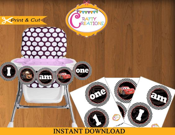 Disney Cars Party Printable Highchair Banner I AM ONE First – Disney Cars High Chair