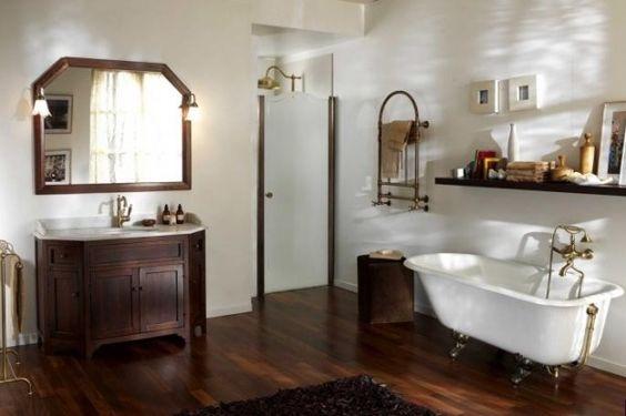Bagni rustici: mobili e parquet in legno scuro  Home ...