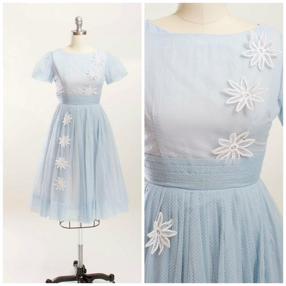 Vintage 1950s Dress Pale Blue Swiss Dot Chiffon by stutterinmama