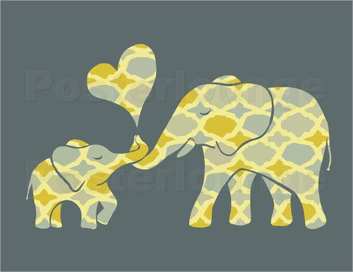 Elephant Hugs - sweet mama and baby animal art illustration Post Cards