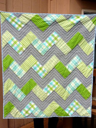 Cuddly chevron baby quilt: made with flannel and high loft badding:
