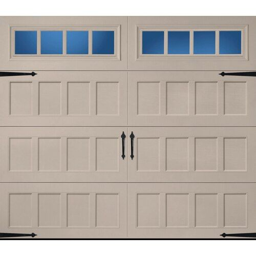 Pella Carriage House 96 In X 84 In Insulated Sandtone Single Garage Door With Windows Lowes Com Single Garage Door Garage Door House Garage Doors