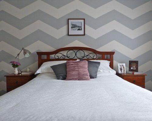 chevron striped bedroom wall: