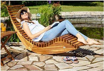 Amazon Fr Chaise Longue A Bascule En Bois Bain De Soleil Jardin Terrasse En 2020 Bain De Soleil Transat Transat Jardin Bain De Soleil