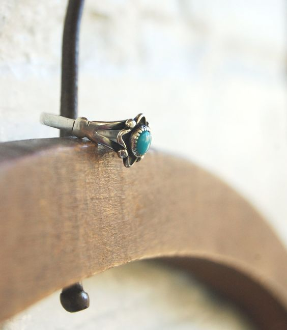 Vintage Turquoise Ring Native American Sterling Silver Bell Trading. $26.00, via Etsy.