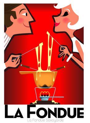 Vintage art poster - mod couple cheese fondue by Richard Zielenkiewicz