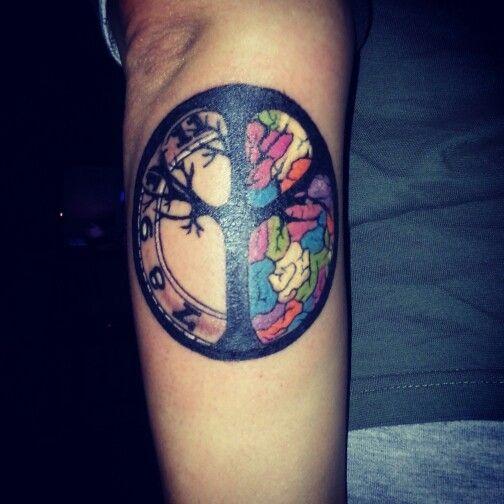 peace tree clock brain my tattoo pinterest trees