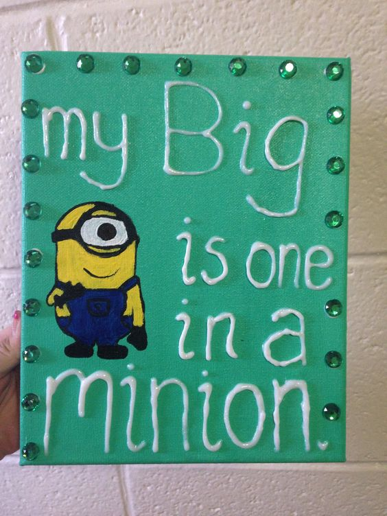 """""""My big is one in a minion."""" Canvas with rhinestones"""