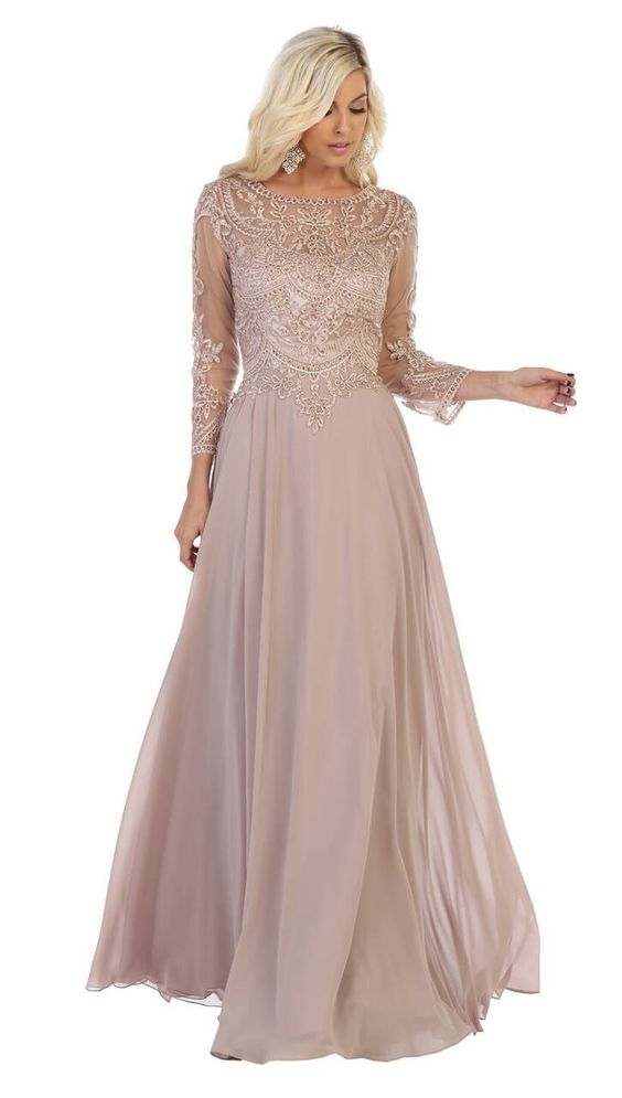 Long Chiffon Mother of the Bride Dress Plus Size Formal | DressOutlet - The Dress Outlet