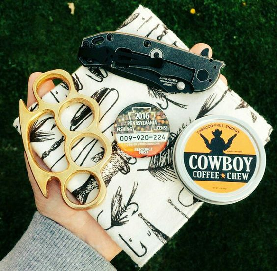 What's in Your Pocket? Photo by The Real Brass Knuckles Check them out at @therealbrassknuckles https://www.instagram.com/therealbrassknuckles/ Team Cowboy Coffee Chew #fighting #weapon #knife