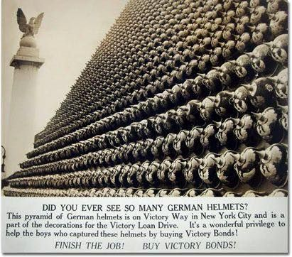 New York after the war. 100,000 German helmets sent to U.S. by General Pershing…