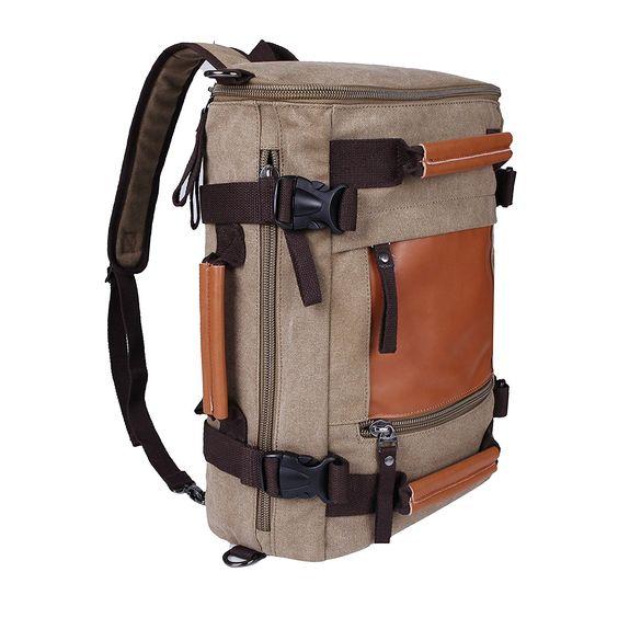 Weekend Shopper Canvas Backpack Travel Hiking Rucksack Camping Bag ...