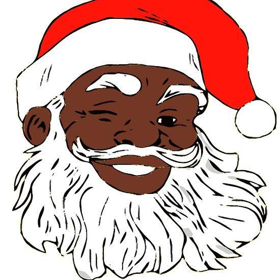 Winking Black Santa Claus Christmas Xmas Xmas Sticker Black Santa Funny Christmas Tshirts